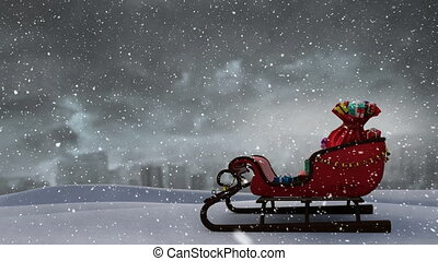 Snow falling and sleigh with presents - Animation of winter ...