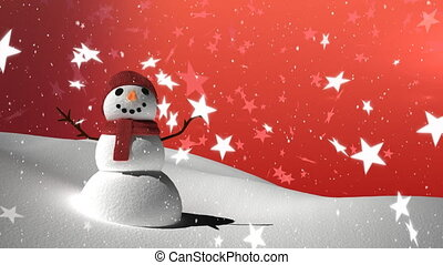 Snow falling and snowman on red background
