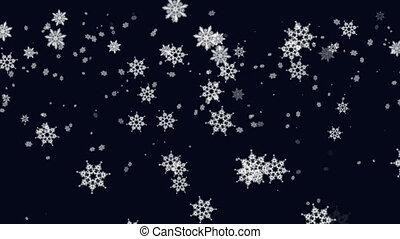 Snow falling from the night sky. Snowflakes on the dark blue...