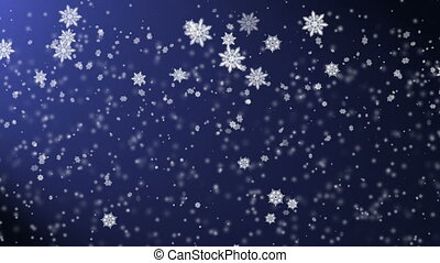 Snow falling from the night sky, holiday's background with...