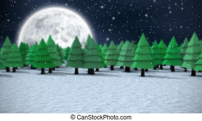 Snow falling in countryside - Animation of snow falling in ...