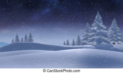 Animation of snow falling in countryside with snow covered trees at night