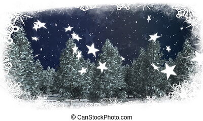 Snow falling on blue background