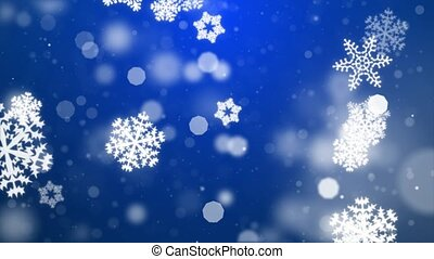 Snow falling on blue sky with Blue particles in the winter Christmas loop background