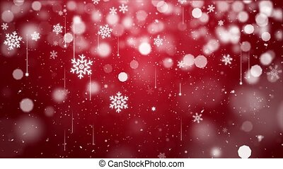 Snow falling on blue sky with Red particles in the winter Christmas loop background
