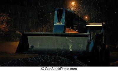 Snow Falling On Digger Machine