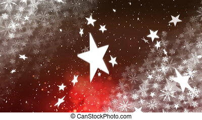 Snow falling on red and brown background