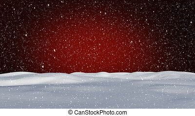 Snow falling on red background