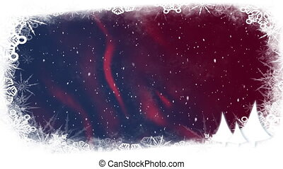 Snow falling on red to blue background