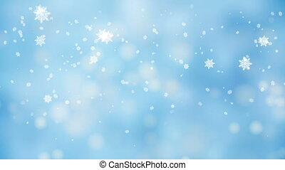 Snow falling over beautiful soft blue background with blinking blurred lights, frosty snowy day