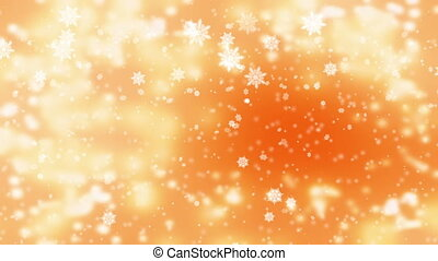 Snow falling over beautiful soft golden background with blurred lights, snowfall