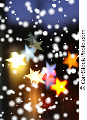 Snow falling over blurred holiday background with...