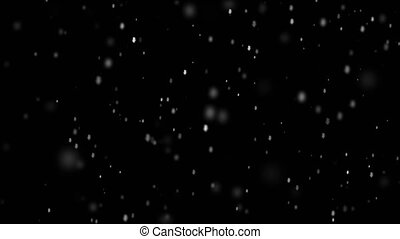 Snow falling seamless loop animation for your Christmas and New Year project. Realistic snowfall isolated on black background