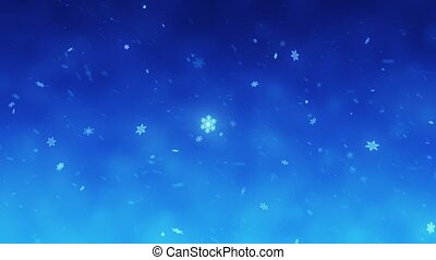 Snow falls and decorative snowflakes. Winter, Christmas, New Year. Blue-turquoise artistic background. 3D animation
