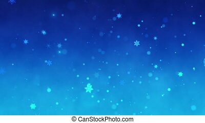 Snow falls and decorative snowflakes. Winter, Christmas, New Year. Dark blue artistic background. 3D animation