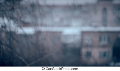Snow falls in city on blurred background of buildings