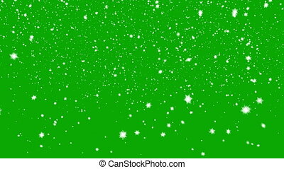 Snow Falls on a Green Background. Beautiful Seamless Looping...