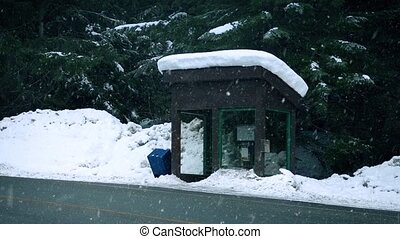 Snow Falls On Bus Shelter In Forest