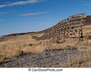 Snow Fence in Wyoming - Weather worn snow fence on the...