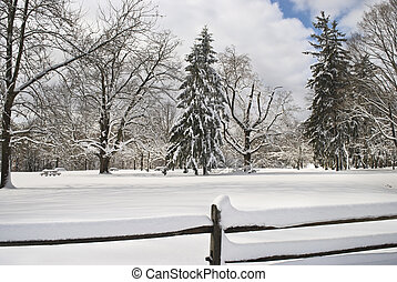 Snow Field and Fence - A snow scene in Monmouth Battlefield...