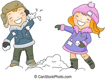 Snow Fight - Illustration of a Boy and Girl Throwing Snow...