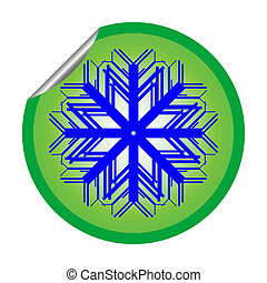 snow flake sticker isolated on white background 2