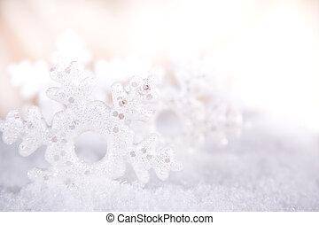 Snow flake, close-up.