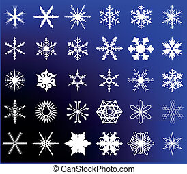 A collection of 30 different snowflakes on a removable blue background.
