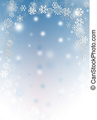 Snow flakes - Abstract with white snow flakes against blue...