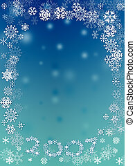 Snow flakes - Abstract with white snow flakes against...