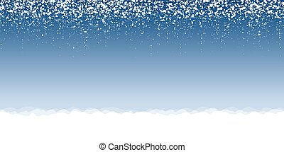 snow flakes background - white snow flakes on top side and...