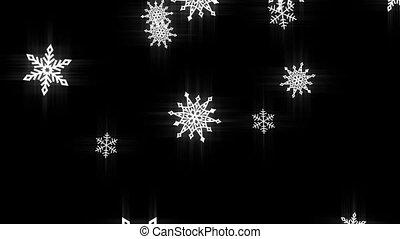 Snow flakes black and white loop