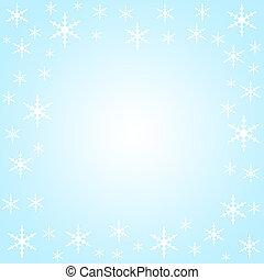 Snow flakes border on light blue