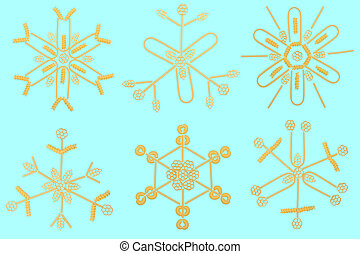 Snow flakes composed of assorted pasta