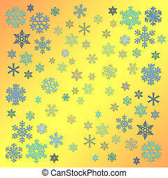 Snow flakes - Abstract with white snow flakes against yellow...