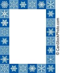 Snow Flakes Frame Vertical Blue Christmas