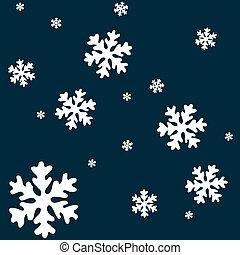 snow flakes - white snow flakes over blue background,...
