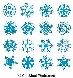 Snow flakes - Set of original blue snow flakes. Vector...