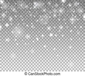 Snow flakes, snow background. Isolated on transparent background.