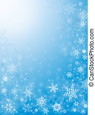 Sharp and diffuse snowflakes on a textured blue background.