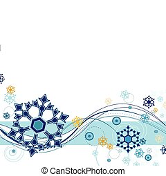 Snow Flurries - Snow flurries and abstract design on a white...