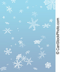 Snow flakes fall against a blue background