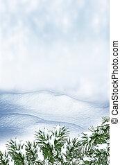 snow., fond, paysage hiver