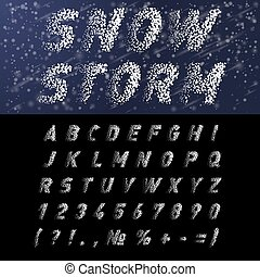 Snow Font - Snow Alphabet and Numbers on Black Background