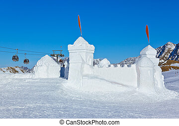 Snow fort in mountains ski resort - Innsbruck Austria