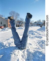 Snow Fun - Man stuck in a snowbank.