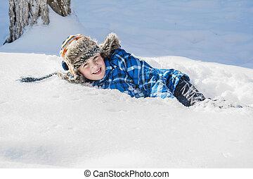 snow., garçon, hiver, heureux, mensonges
