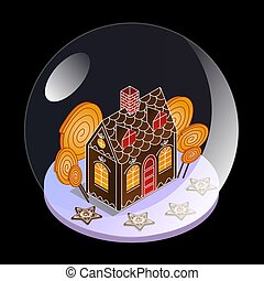Snow glass ball in isometric view. Gingerbread house with gingerbread stars and large candies under glass. Christmas present for children.