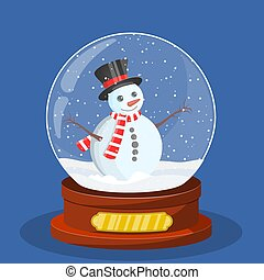 snow glass globe with Christmas snowman
