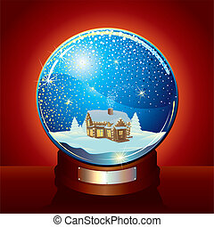 Snow Globe - Christmas Snow globe with magic winter...